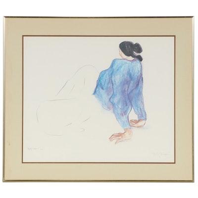 R. C. Gorman Offset Lithograph of Reclining Woman in Blue, circa 1980
