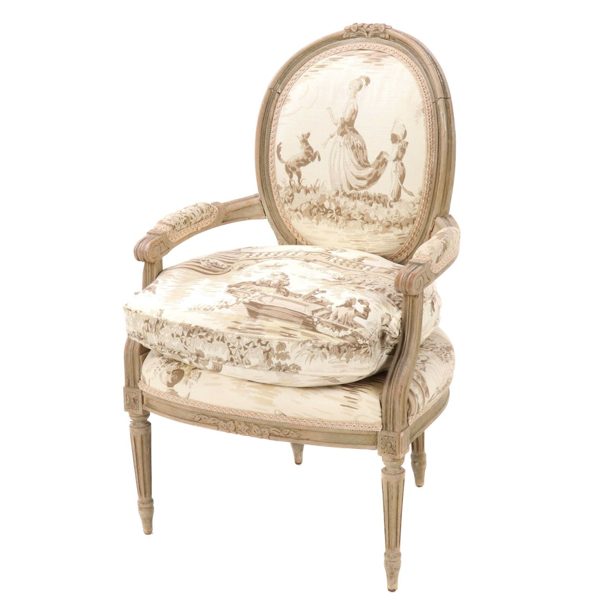 Louis XVI Style Upholstered Fauteuil, 20th Century