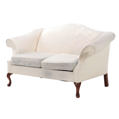 Queen Anne Style Upholstered Camel Back Love Seat, Late 20th Century