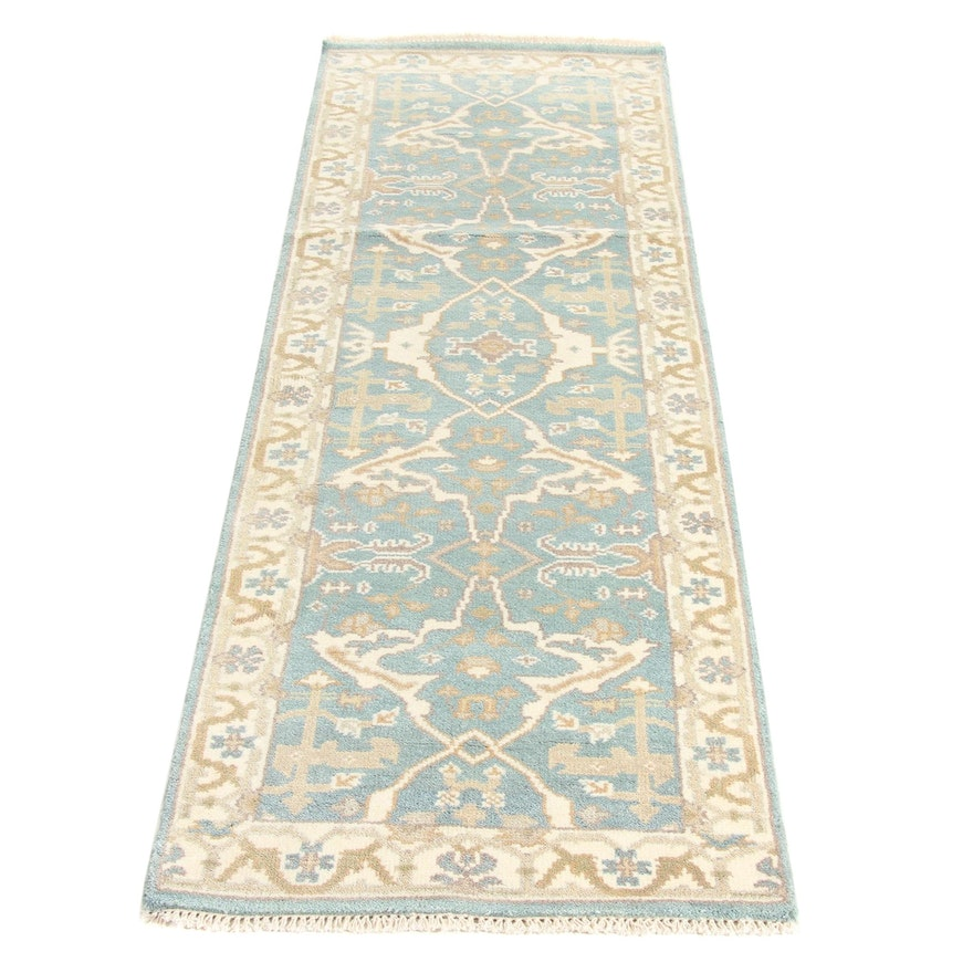 2'6 x 8'4 Hand-Knotted Indo-Turkish Oushak Runner Rug