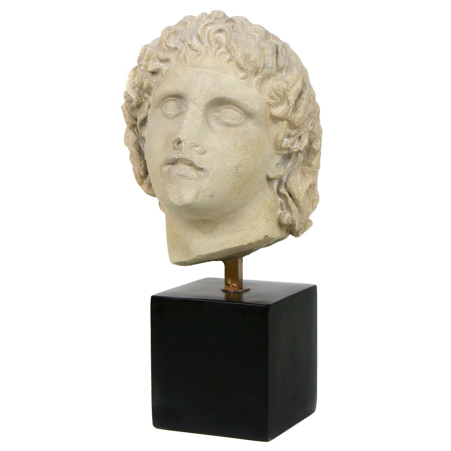 Classical Greek Style Stone Bust of Alexander the Great