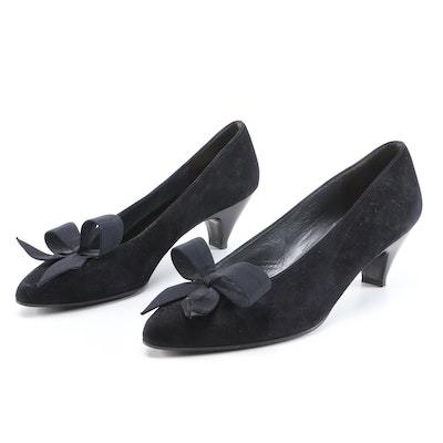 Charles Jourdan Bow-Accented Black Suede Tapered-Toe Pumps