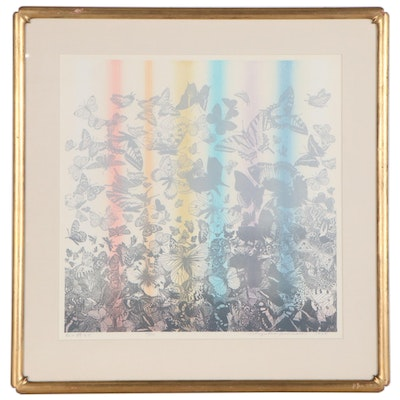 "Chizuko Yoshida Color Woodblock ""Rainbow Butterflies,"" 1979"