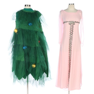 Christmas Tree Costume with Accessories and Pink Chiffon Princess Costume