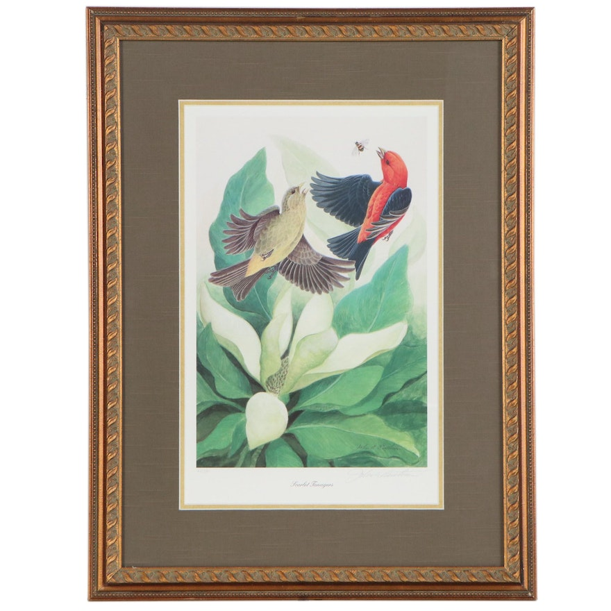 "John Ruthven Offset Lithograph ""Scarlet Tanagers"""