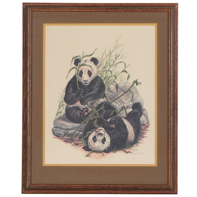 W. D. Gaither Offset Lithograph of Pandas, Late 20th Century