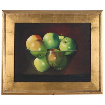 "Carol Hiemenz Still Life Oil Painting ""Glass Bowl with Apples"", 2003"