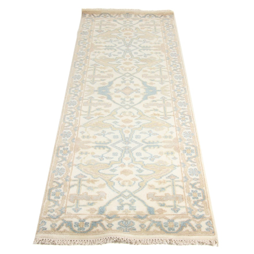 2'7 x 7'10 Hand-Knotted Indo-Turkish Oushak Runner Rug