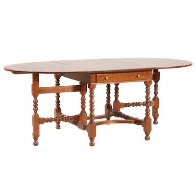 William and Mary Style Cherry Gate-Leg Dining Table, 20th Century