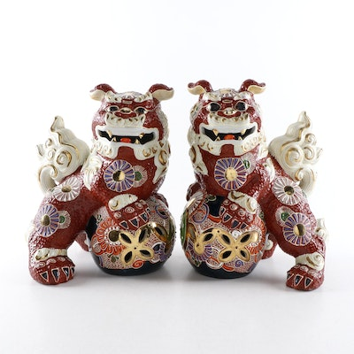 Pair of Japanese Kutani Ware Guardian Lions