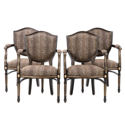 Four Louis XVI Style Ebonized and Parcel-Gilt Fauteuils