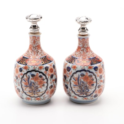 Japanese Imari Porcelain Bottles with Gorham Sterling Silver Stoppers