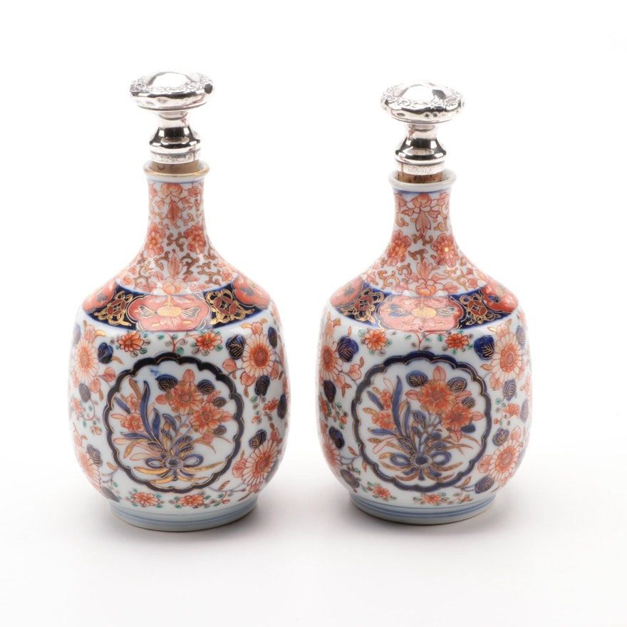 Japanese Imari Porcelain Bottles with Gorham Sterling Silver Stoppers