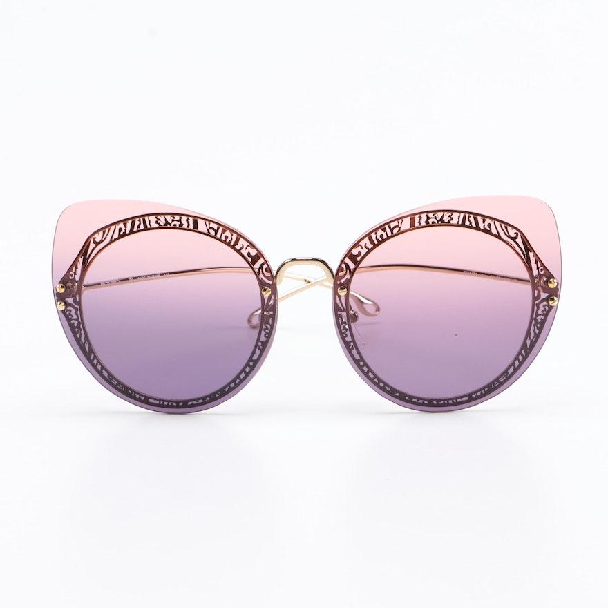 ETRO ET114SC Gold Tone Filigree Cat Eye Sunglasses with Case