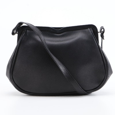 Bottega Veneta Black Rubberized Canvas Shoulder Bag with Leather Trim