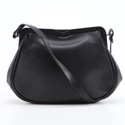 Bottega Veneta Black Rubberized Canvas Shoulder Bag with Leather Trim