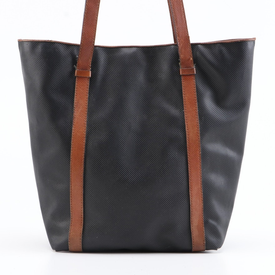 Bottega Veneta Black Rubberized Canvas Bucket Bag with Brown Leather Trim