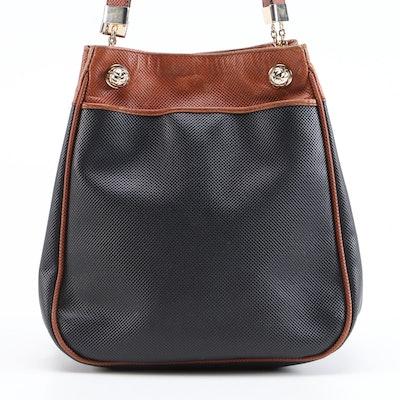 Bottega Veneta Black Rubberized Canvas Shoulder Bag with Brown Leather Trim
