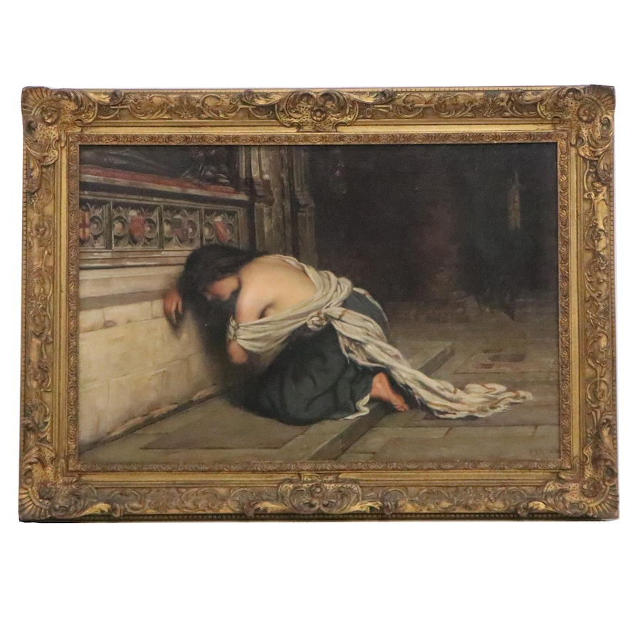 Frederick Dudley Walenn Oil Painting of Mary Magdalene Weeping at Tomb, 1900