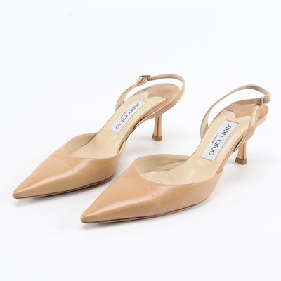 Jimmy Choo Tan Leather Pointed-Toe Slingbacks
