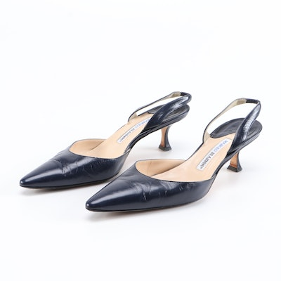 Manolo Blahnik Slingbacks in Navy Blue Leather