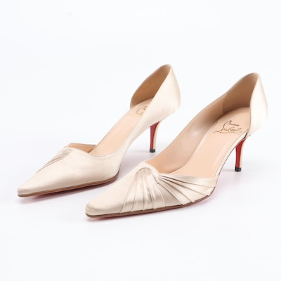Christian Louboutin Champagne Satin Tapered-Toe Heels