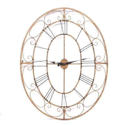CBK Large Ornate Scrolled and Brushed Metal Wall Clock