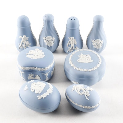 Wedgwood Jasperware Shakers and Lidded Boxes