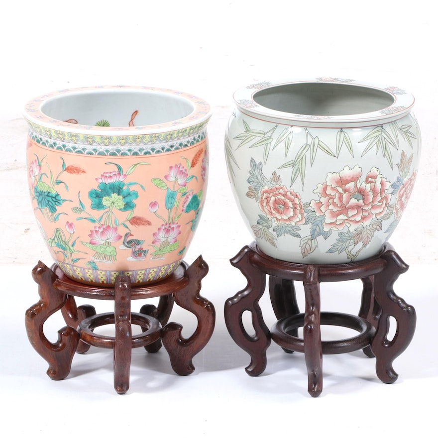 Chinese Ceramic Fish Bowl Planters with Stands, Late 20th Century
