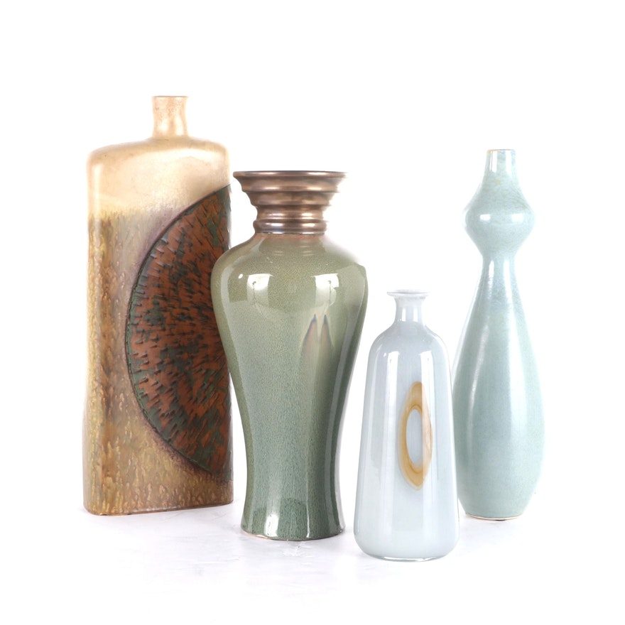 Ceramic and Glass Centerpiece Vases