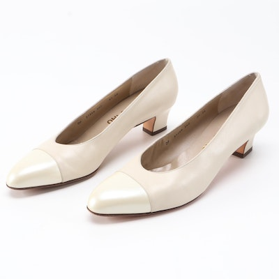 Salvatore Ferragamo Ivory Leather Cap-Toe Block Heel Pumps