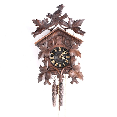 George Kuehl Black Forest Wooden Cuckoo Clock, Early 20th Century