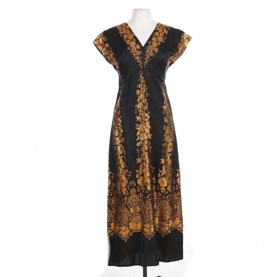 Albert Nipon Gold Metallic Woven Drop Shoulder Maxi Dress, Mid 20th Century