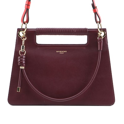 Givenchy Whip Shoulder Bag in Burgundy Leather