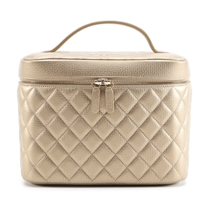 Chanel Cosmetic Case in Quilted Metallic Calfskin with Box