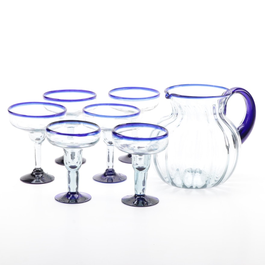 Cobalt and Clear Blown Glass Pitcher and Glasses