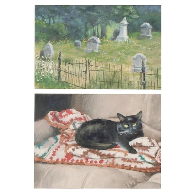 Marcus Brewer Oil Paintings of a Black Cat and a Cemetery