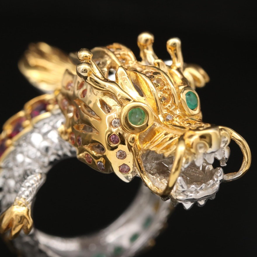 Sterling Silver Dragon Ring Featuring Emerald, Rhodolite Garnet and Sapphire