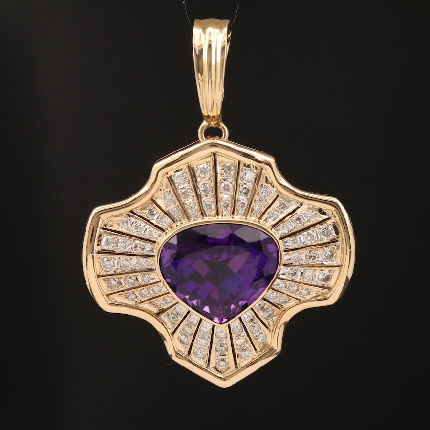 18K and 14K Amethyst and 1.65 CTW Diamond Enhancer Pendant