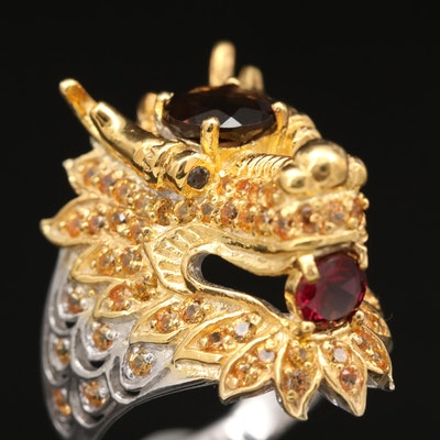 Sterling Smoky Quartz, Rhodolite Garnet and Sapphire Dragon Ring