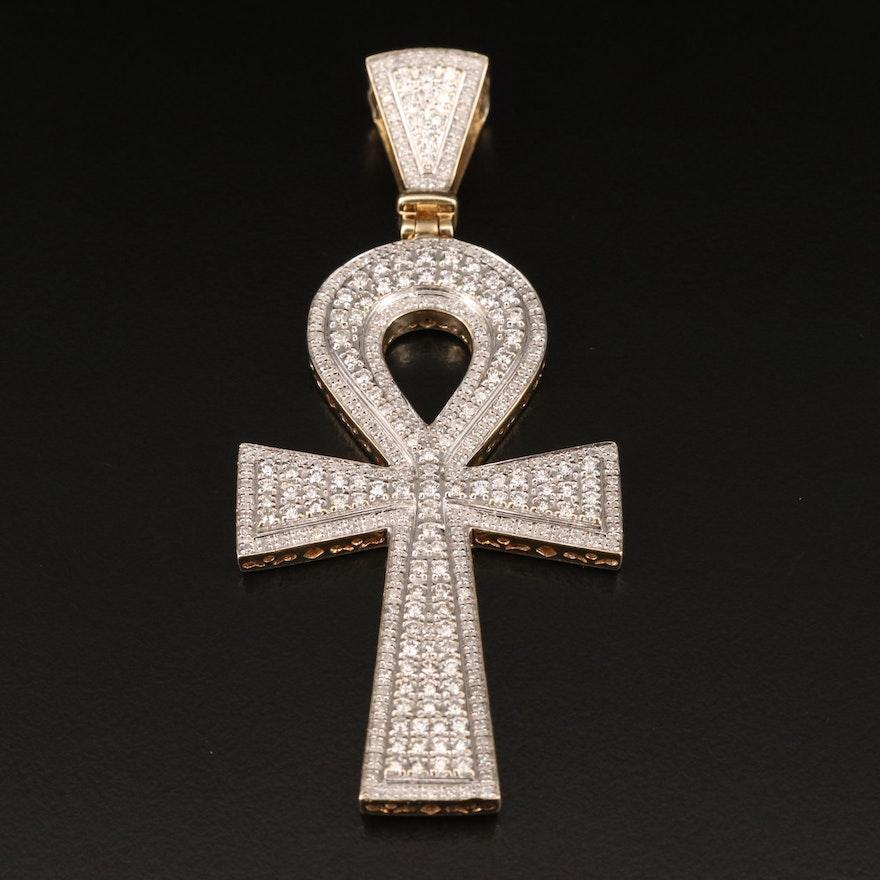 10K Pavé 2.06 CTW Diamond Ankh Pendant
