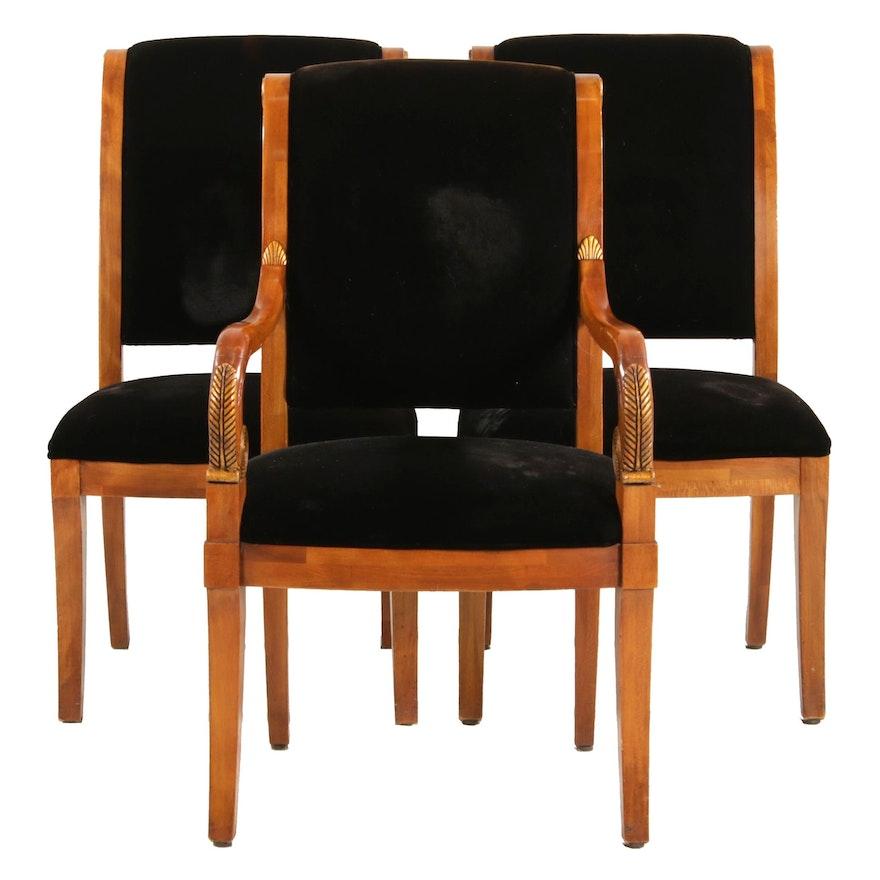 Three Henredon Empire Style Velveteen Upholstered Chairs