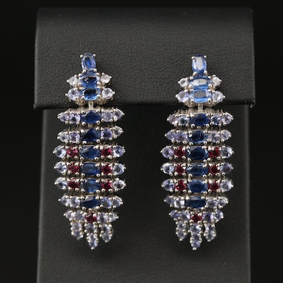 Sterling Silver Kyanite, Tanzanite and Garnet Earrings