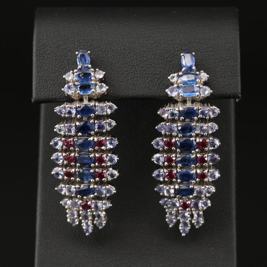 Sterling Silver Kyanite, Tanzanite and Garnet Earrings