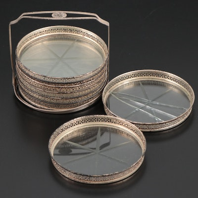 Webster Sterling Silver and Cut Glass Coasters with Caddy