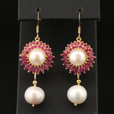 Sterling Pearl and Ruby Dangle Earrings