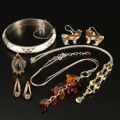 Sterling Silver Garnet and Amber Jewelry with Vintage Thai Enamel Bangle