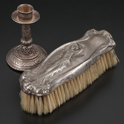 Art Nouveau Sterling Silver Clothes Brush and Silver Plate Candle Holder
