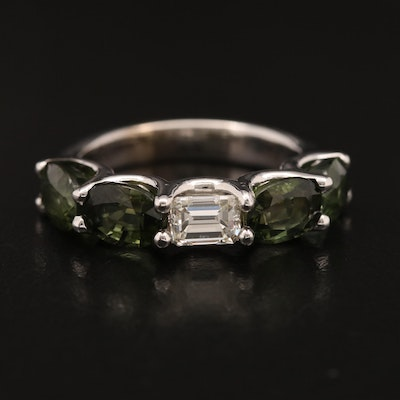 14K Tourmaline and Diamond East to West Band