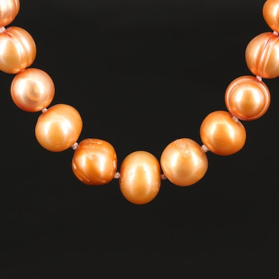 Single Strand Baroque Pearl Necklace with 14K Clasp